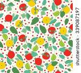 garden apples seamless vector... | Shutterstock .eps vector #339087197