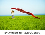 young lady runing with tissue... | Shutterstock . vector #339201593