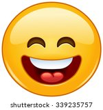 happy emoticon with open mouth... | Shutterstock .eps vector #339235757
