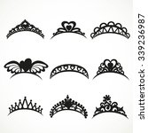 set  silhouettes of tiaras of... | Shutterstock .eps vector #339236987