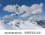 flying snowboarder on mountains ... | Shutterstock . vector #339252113