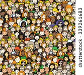 Seamless Pattern Of Crowd Of...