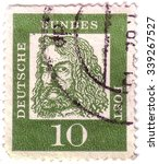 Small photo of GERMANY - CIRCA 1961: A stamp printed in Germany, shows portrait of Albrecht Durer a German painter, print maker, mathematician, circa 1961