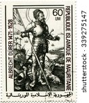 Small photo of Mauritania - circa 1979: a postage stamp of the Islamic Republic of Mauritania circa 1979, dedicated to the German painter and graphic Albrecht Durer. Graphic masters