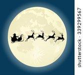 santa claus silhouette riding a ...   Shutterstock . vector #339299567