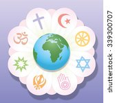 world religions united as... | Shutterstock .eps vector #339300707