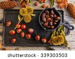 chestnuts  maroni   roasted... | Shutterstock . vector #339303503