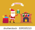 santa claus with big sack of... | Shutterstock .eps vector #339335213