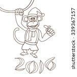 cartoon monkey with banana in... | Shutterstock .eps vector #339367157