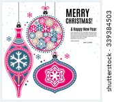 christmas card with ornaments...   Shutterstock .eps vector #339384503