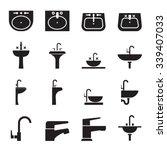 silhouette sink  wash basin ... | Shutterstock .eps vector #339407033