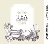 Stock vector vector card design with hand drawn tea illustration decorative inking background with vintage tea 339411803