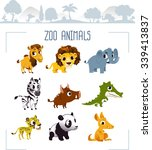 zoo animals. vector... | Shutterstock .eps vector #339413837