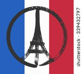hand drawn peace for paris... | Shutterstock .eps vector #339432797