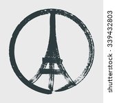 hand drawn peace for paris... | Shutterstock .eps vector #339432803
