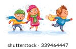 playing outdoor. funny children ... | Shutterstock .eps vector #339464447