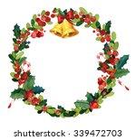 christmas watercolor wreath... | Shutterstock . vector #339472703