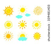 hand drawn sun icon set. vector ... | Shutterstock .eps vector #339481403