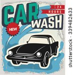 vintage retro stile. wash car... | Shutterstock .eps vector #339482633