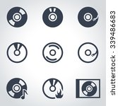 vector black cd icon set | Shutterstock .eps vector #339486683