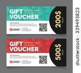 gift voucher template  set of... | Shutterstock .eps vector #339493823
