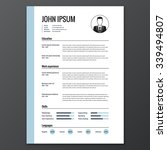 cv  resume template  vector... | Shutterstock .eps vector #339494807