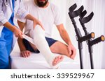 injury leg. young man with... | Shutterstock . vector #339529967