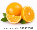 fresh orange isolated on white... | Shutterstock . vector #339539507
