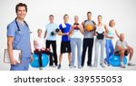 smiling medical doctor man and... | Shutterstock . vector #339555053