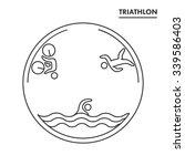 triathlon logo and icon.... | Shutterstock .eps vector #339586403