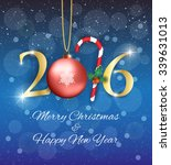 golden new year 2016 sign  with ... | Shutterstock . vector #339631013