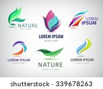 Vector set of abstract wavy logo, spa salon, nature icons isolated. Identity. Spa floral  organic logos, eco abstract | Shutterstock vector #339678263