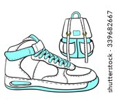 fashion sketch of sneakers high ... | Shutterstock .eps vector #339682667