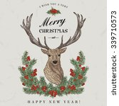vintage christmas card. deer ... | Shutterstock .eps vector #339710573