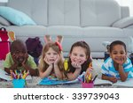 smiling kids drawing pictures... | Shutterstock . vector #339739043