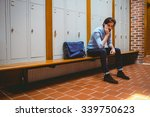 hipster student feeling sad in... | Shutterstock . vector #339750623
