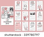 calendar 2016. cute cats for... | Shutterstock .eps vector #339780797