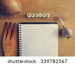 blank recipe book with onion... | Shutterstock . vector #339782567