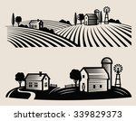 vector black farm and field on... | Shutterstock .eps vector #339829373