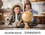 two boys in the form of pilot... | Shutterstock . vector #339860693