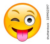 eyewink with tongue emoticon.... | Shutterstock .eps vector #339902597