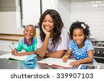 mother with her children in... | Shutterstock . vector #339907103