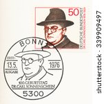 Small photo of GERMANY - CIRCA 1976: A first day of issue postmark printed in Germany, shows portrait of Dr. Carl Sonnenschein (1876-1929), Roman Catholic clergyman and social reformer, circa 1976
