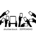 people hands holding mobile... | Shutterstock .eps vector #339934043