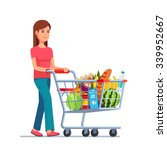 young woman pushing supermarket ... | Shutterstock .eps vector #339952667