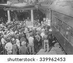 Small photo of Harding-Coolidge Theatrical League train arriving in Marion, Ohio, August 24, 1920. Led by actor and singer Al Jolson, forty fellow actors, including Ethel Barrymore, Mary Pickford, Doug Fairbanks, Li