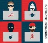 different types of hackers. men ... | Shutterstock .eps vector #339988673