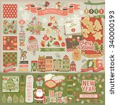 christmas scrapbook set  ... | Shutterstock .eps vector #340000193