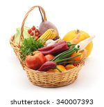 Vegetables In Baskets Isolated...