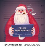 bad santa in police department. ... | Shutterstock .eps vector #340020707